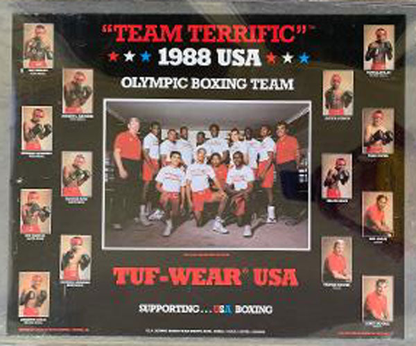1988 U.S. OLYMPIC BOXING TEAM ADVERTISING POSTER (JONES, JR., BOWE, MERCER, CARBAJAL)