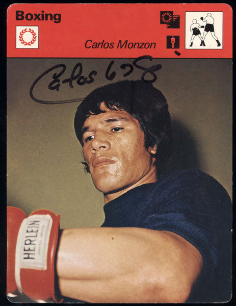 MONZON, CARLOS SIGNED 1977 SPORTSCASTERS CARD (JSA AUTHENTICATED)