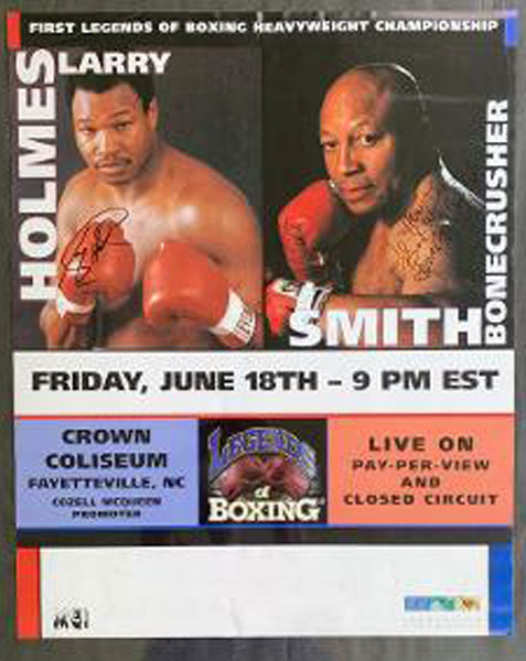 "HOLMES, LARRY-JAMES ""BONECRUSHER"" SMITH SIGNED CLOSED CIRCUIT POSTER (1999-SIGNED BY BOTH)"