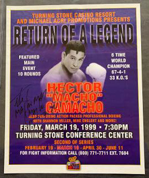 "CAMACHO, HECTOR ""MACHO""-SCOTT SMITH SIGNED ON SITE POSTER (1999-SIGNED BY CAMACHO)"