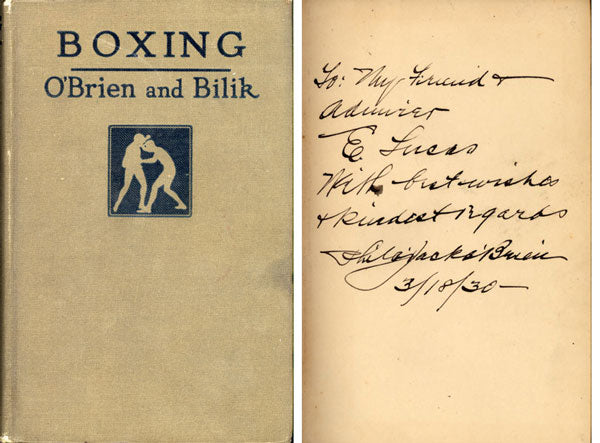 BOXING BY PHILADELPHIA JACK O'BRIEN SIGNED BOOK (1930)