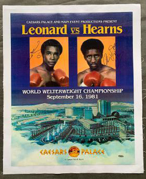LEONARD, SUGAR RAY-THOMAS HEARNS I ON SITE POSTER (1981-SIGNED BY BOTH)