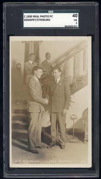 DEMPSEY, JACK & YOUNG STRIBLING REAL PHOTO POSTCARD (SGC 40-VG)