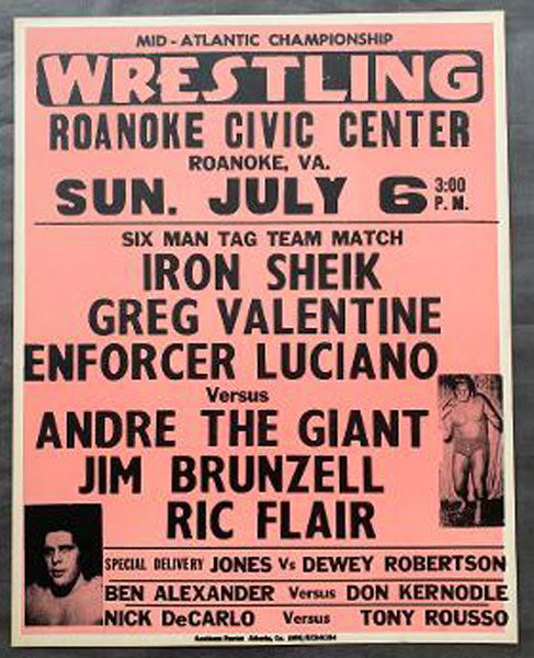 ANDRE THE GIANT-FLAIR-MULLIGAN VS VALENTINE-ENFORCER LUCIANO-MASKED SUPERSTAR ON SITE POSTER (1980)