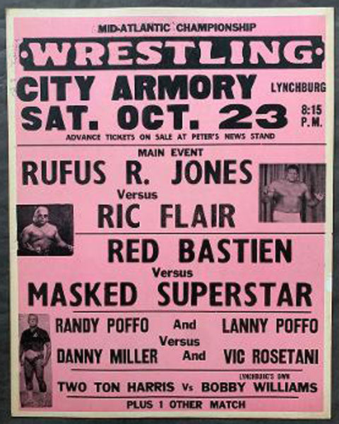 RANDY SAVAGE (POFFO)-LANNY POFFO VS DANNY MILLER-VIC ROSETANI ON SITE POSTER (1976)