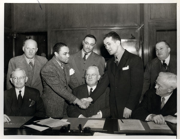 ARMSTRONG, HENRY-FRITZIE ZIVIC II WIRE PHOTO (CONTRACT SIGNING)