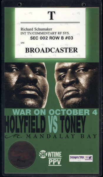 "HOLYFIELD, EVANDER-JAMES ""LIGHTS OUT"" TONEY CREDENTIAL (2003)"