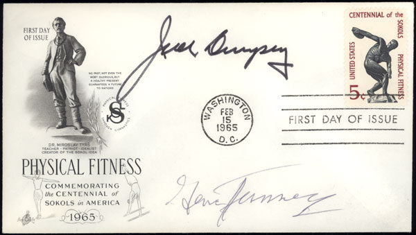 DEMPSEY, JACK & GENE TUNNEY SIGNED FIRST DAY ENVELOPE (1965)