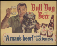 DEMPSEY, JACK BULL DOG LAGER BEER POSTER (LATE 1940'S)