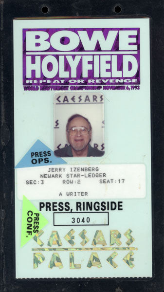 BOWE, RIDDICK-EVANDER HOLYFIELD II EXECUTIVE CREDENTIAL (1993)