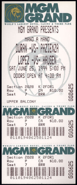 DURAN, ROBERTO-VINNY PAZIENZA I FULL ON SITE TICKET (1994-LARGE VERSION)
