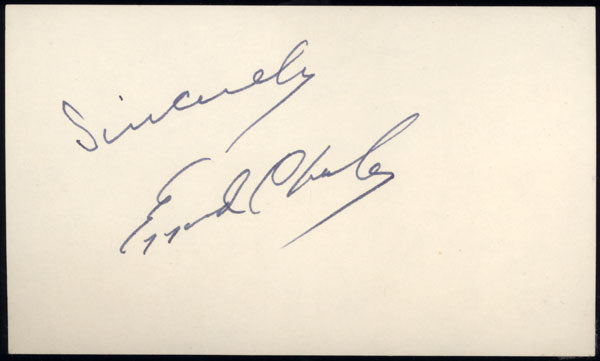 CHARLES, EZZARD INK SIGNED INDEX CARD