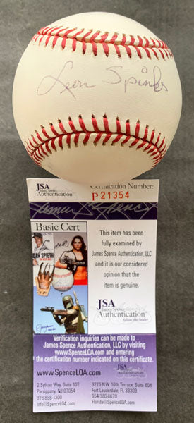 SPINKS, LEON SIGNED BASEBALL (JSA AUTHENTICATED)