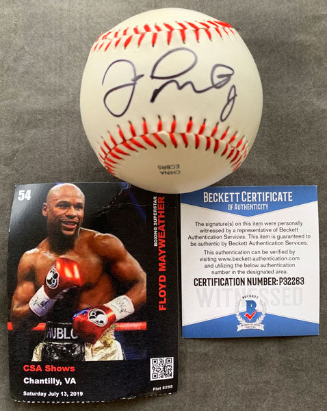 MAYWEATHER, JR., FLOYD SIGNED BASEBALL (BECKETT AUTHENTICATED)