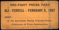 ALI, MUHAMMAD-ERNIE TERRELL PRE FIGHT PRESS PASS (1967)