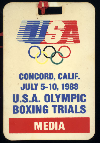 1988 U.S.A. OLYMPIC BOXING TRIALS MEDIA CREDENTIAL (JONES, JR., BOWE, CARBAJAL)