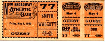 WALCOTT, BARBADOS JOE-MYSTERIOUS BILLY SMITH FULL TICKET (1900)