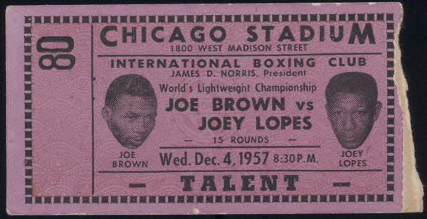 BROWN, JOE-JOEY LOPES STUBLESS TICKET (1957)