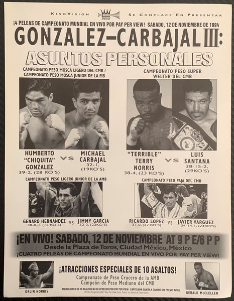 CARBAJAL, MICHAEL-CHIQUITA GONZALEZ III PAY PER VIEW FLYER (1994)