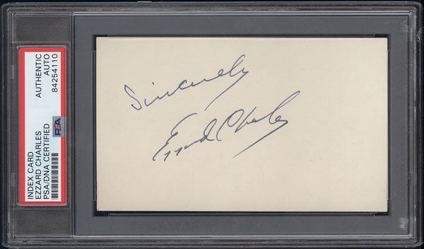CHARLES, EZZARD INK SIGNED INDEX CARD (PSA/DNA)
