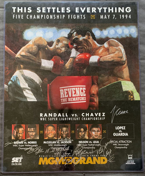 CHAVEZ, JULIO CESAR-FRANKIE RANDALL & GERALD MCCLELLAN-JULIAN JACKSON & SIMON BROWN-TERRY NORRIS & AZUMAH NELSON-JESSE JAMES LEIJA SIGNED ON SITE POSTER (1994-SIGNED BY ALL)