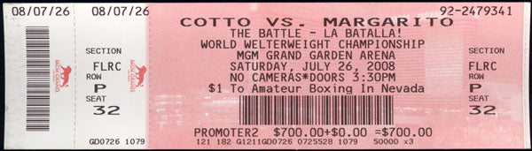 COTTO, MIGUEL-ANTONIO MARGARITO FULL TICKET (2008)