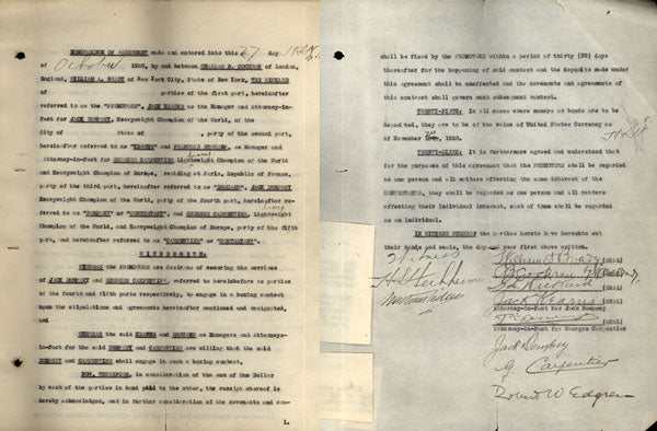 DEMPSEY, JACK-GEORGES CARPENTIER SIGNED MEMORANDUM OF AGREEMENT (1921-JSA AUTHENTICATED)