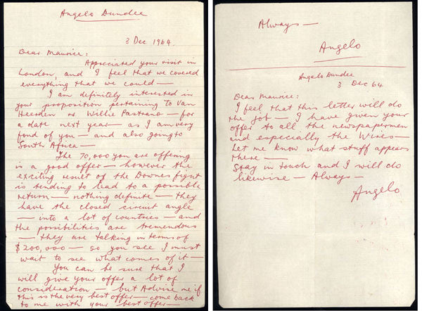 DUNDEE, ANGELO HAND WRITTEN LETTER (1964-PROPOSED WILLIE PASTRANO FIGHT)