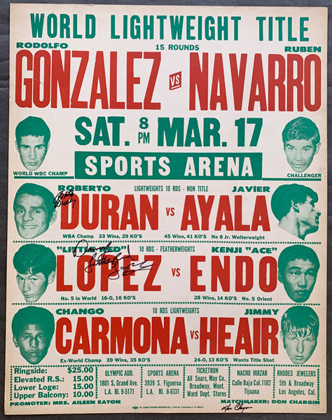 "DURAN, ROBERTO-JAVIER AYALA & DANNY ""LITTLE RED"" LOPEZ-KENJI ENDO SIGNED ON SITE POSTER (1973-SIGNED BY DURAN, CHARGIN & LOPEZ)"