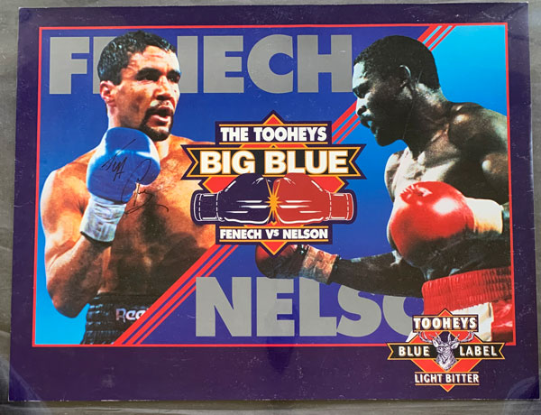 FENECH, JEFF-AZUMAH NELSON SIGNED ADVERTISING POSTER (1992-SIGNED BY FENECH)
