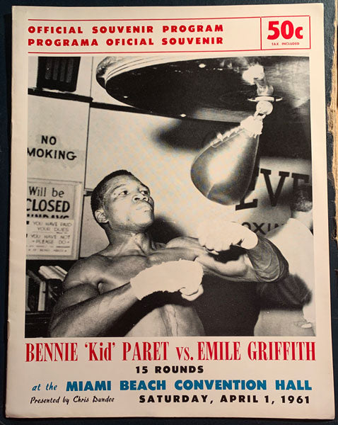 "GRIFFITH, EMILE-BENNY ""KID"" PARET OFFICIAL PROGRAM (1961)"