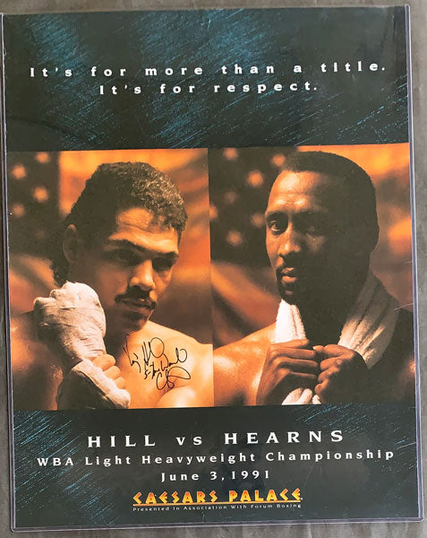 HEARNS, THOMAS-VIRGIL HILL SIGNED ON SITE POSTER (1991-SIGNED BY HILL)