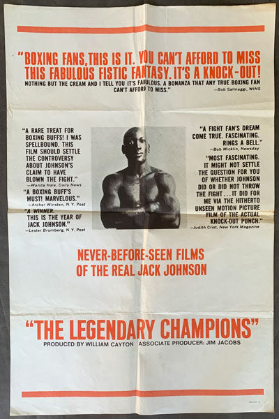 "JOHNSON, JACK ""THE LEGENDARY CHAMPIONS"" FILM POSTER (1968)"