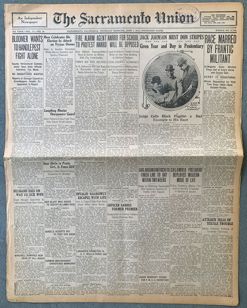JOHNSON, JACK SENTENCED TO JAIL NEWSPAPER (1913)