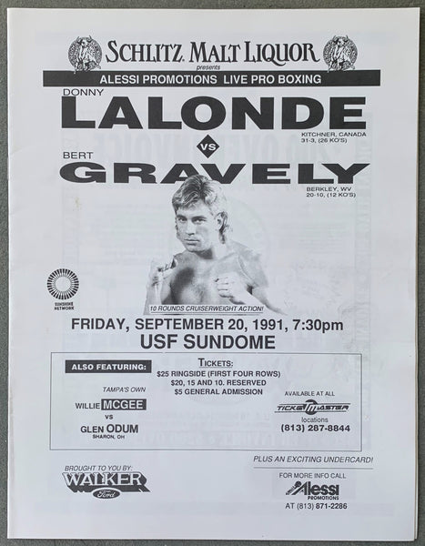 LALONDE, DONNY-BERT GRAVLEY OFFICIAL PROGRAM (1991)