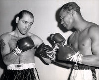 "ROBINSON, SUGAR RAY-CARL ""BOBO"" OLSON WIRE PHOTO (1955-SQUARING OFF)"
