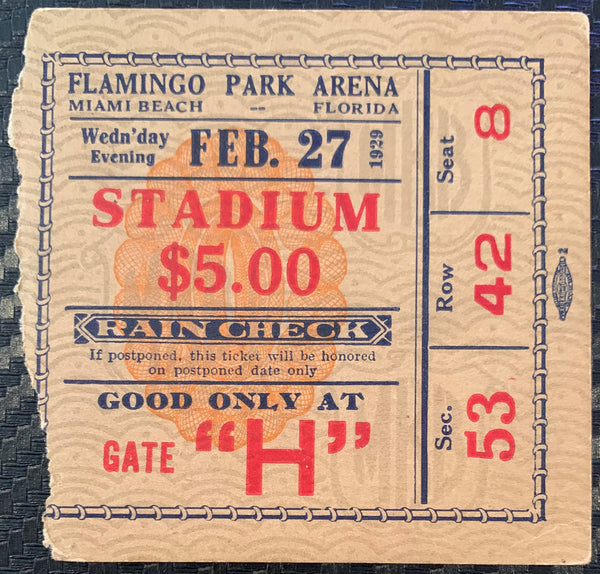 JACK SHARKEY-YOUNG STRIBLING ON SITE TICKET STUB (1929)