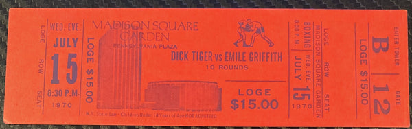 GRIFFITH, EMILE-DICK TIGER FULL TICKET (1970)