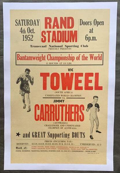 CARRUTHERS, JIMMY-VIC TOWEEL I ON SITE POSTER (1952)