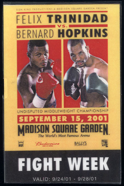 HOPKINS, BERNARD-FELIX TRINIDAD PRESS CREDENTIAL (2001-WEEK LONG)