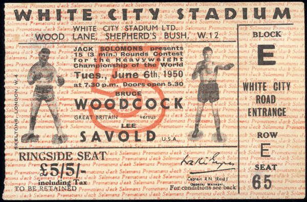SAVOLD, LEE-BRUCE WOODCOCK STUBLESS TICKET (1950)