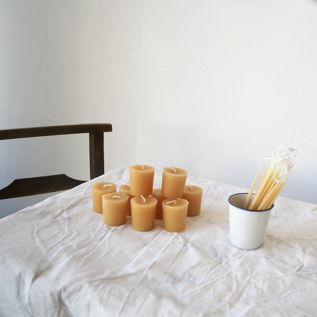 Beeswax Votives and Birthday Candles