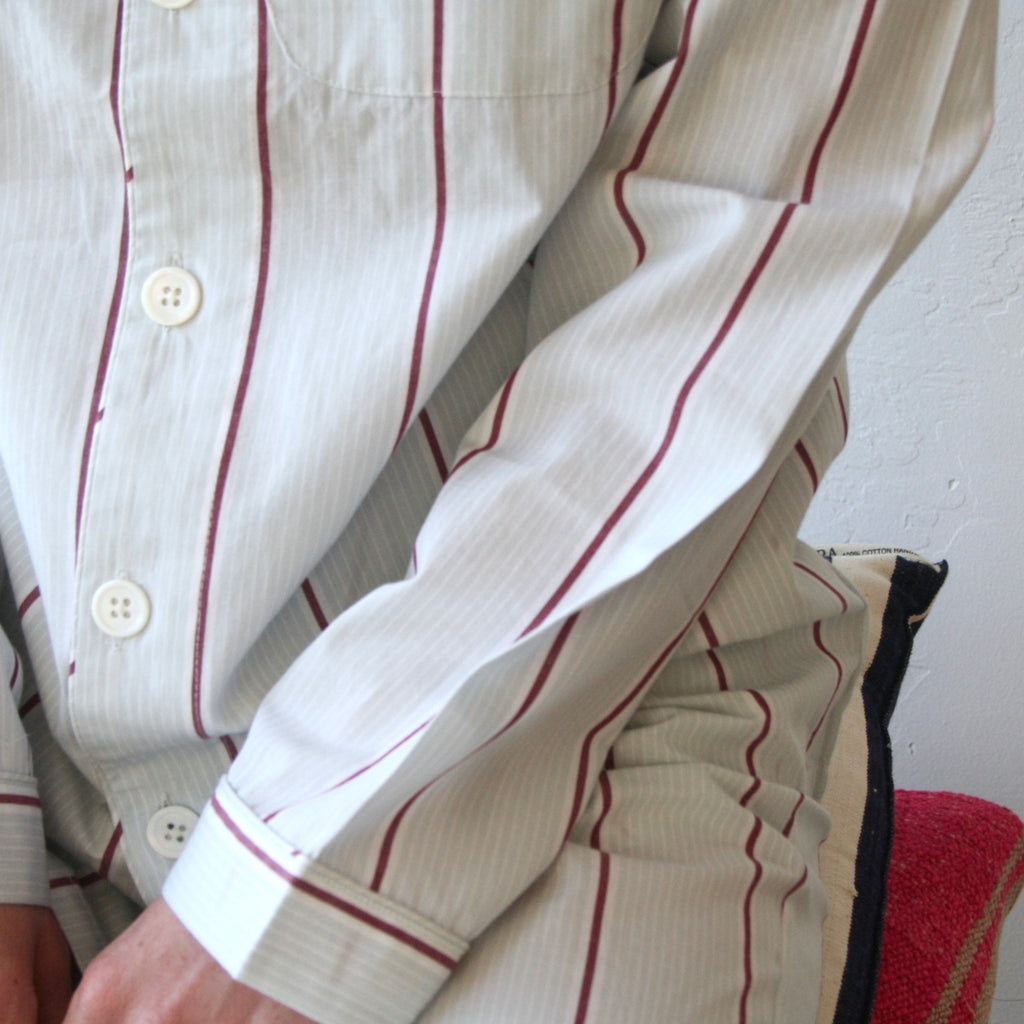 Pajama Set - Ice & Deep Red Stripes