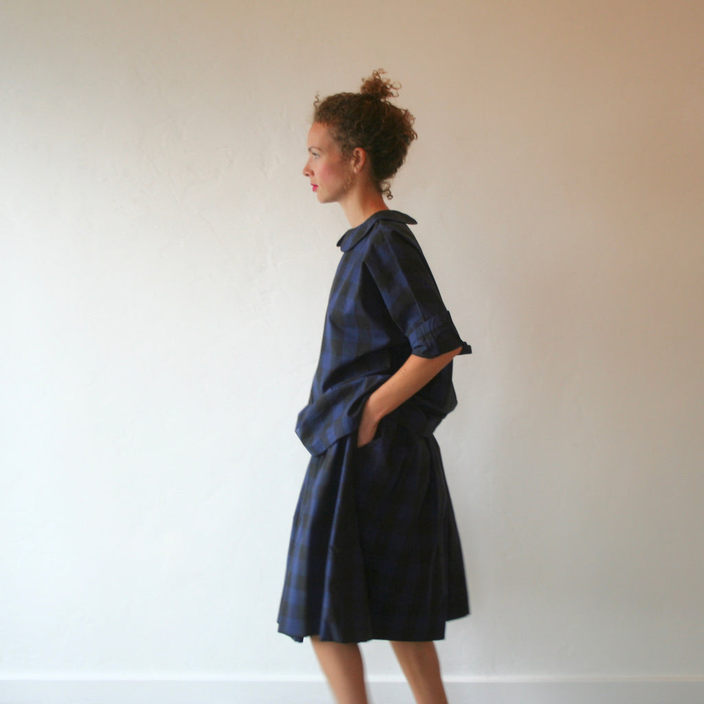 Bon Peter Pan Shirt - Blue & Black Check