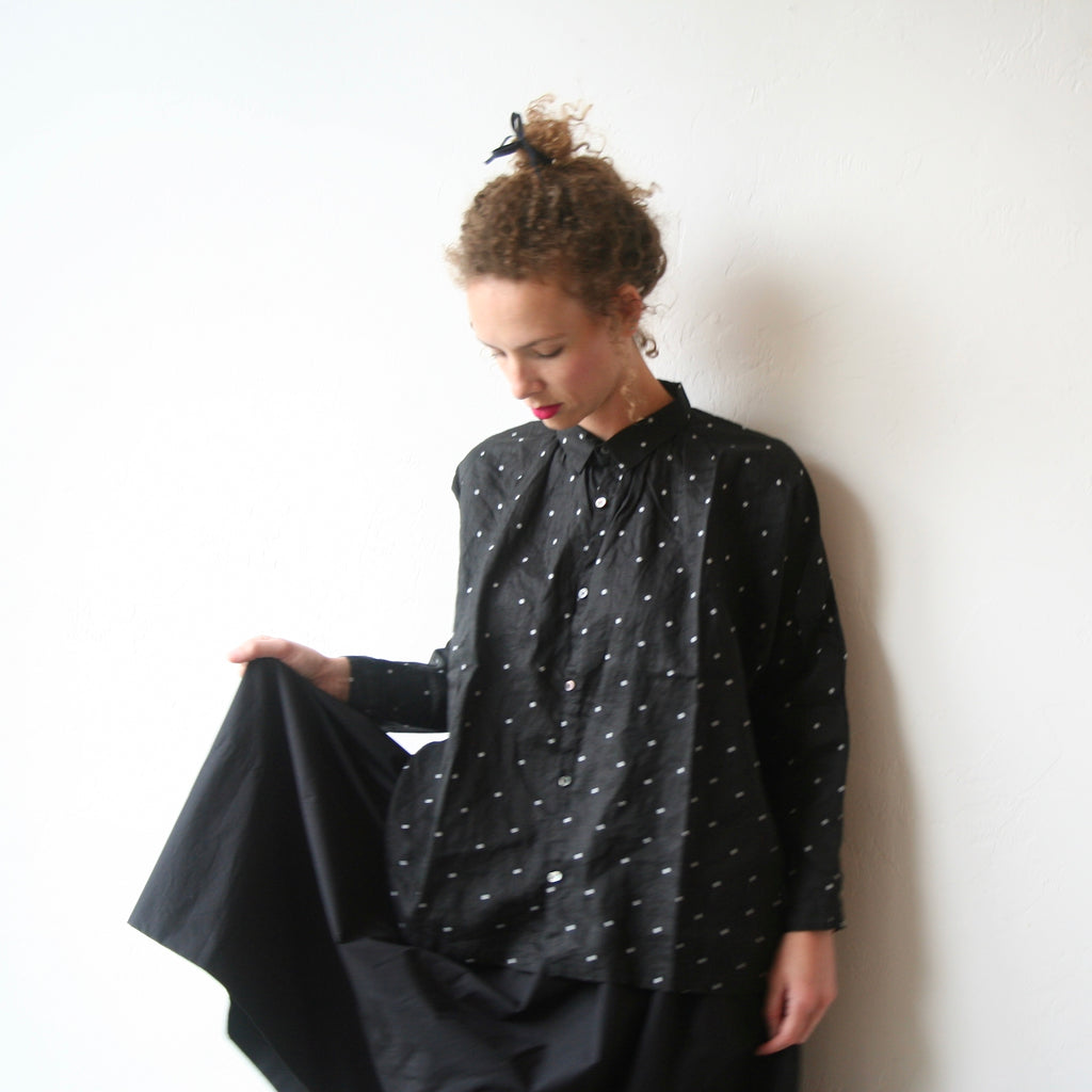 Polkadot Shirt - Black With White Dots