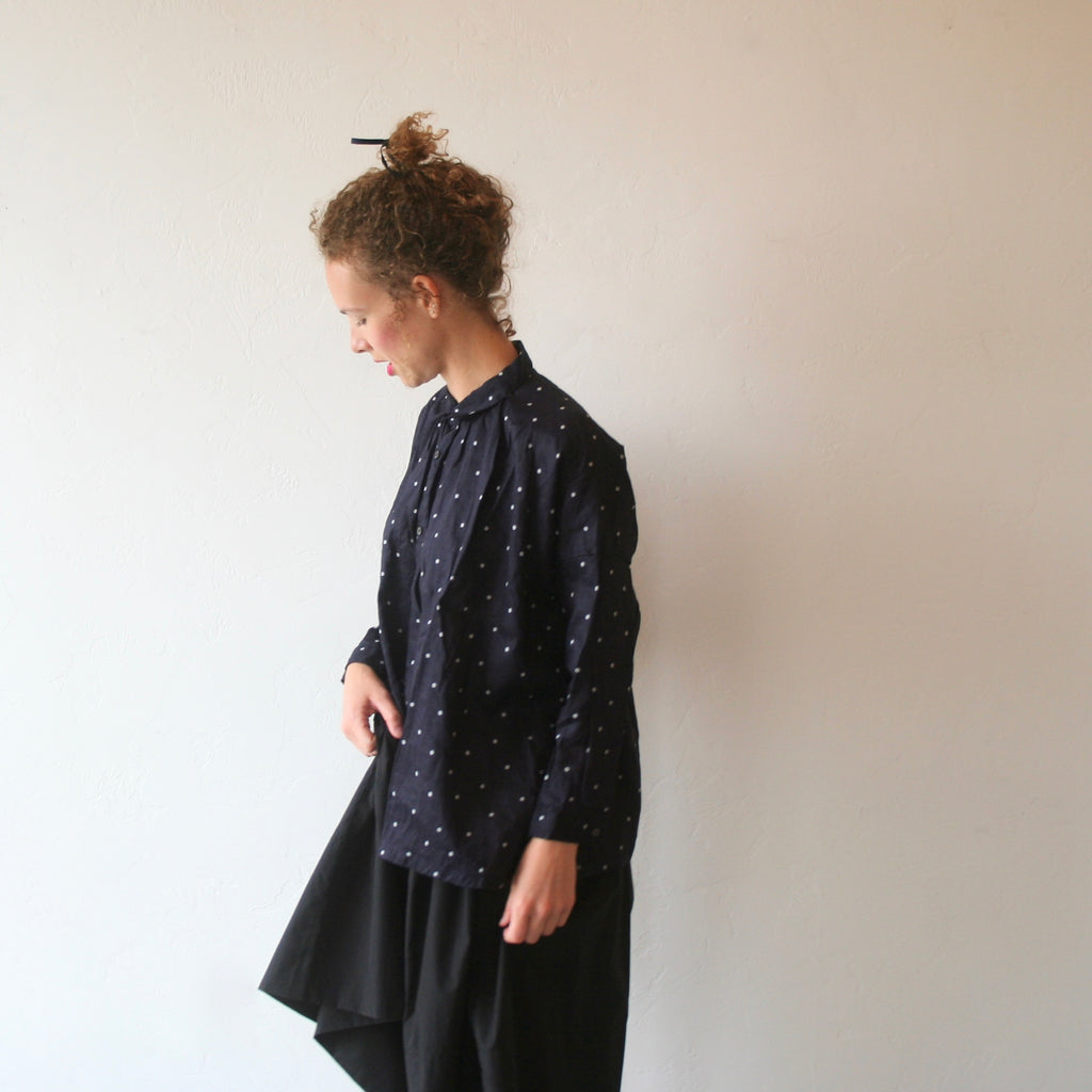 Polkadot Shirt - Navy With White Dots