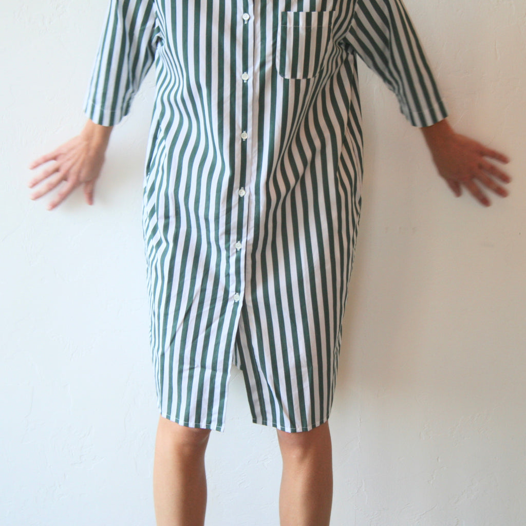 Shirt Dress - Green Stripe