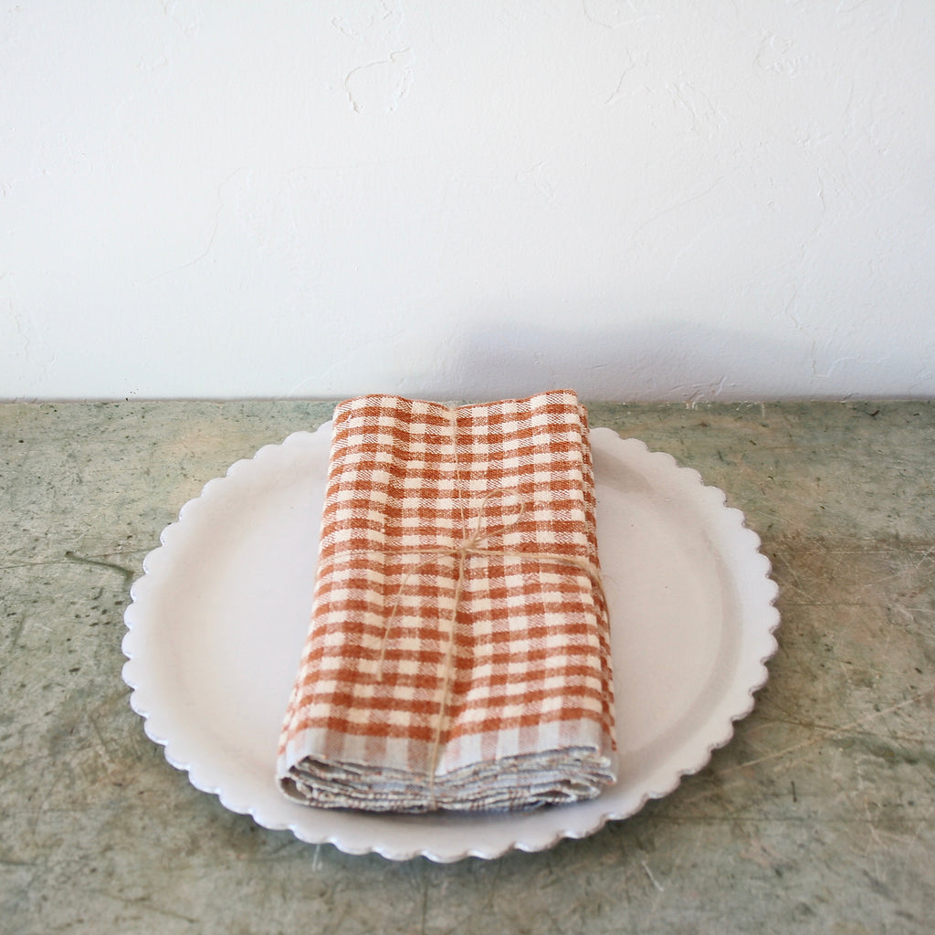 Set of Four Gingham Linen Napkins - Cognac