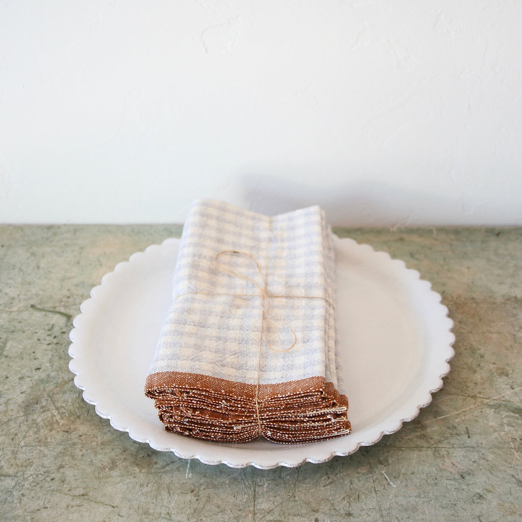 Set Of Four Gingham Linen Napkins - Soft Grey