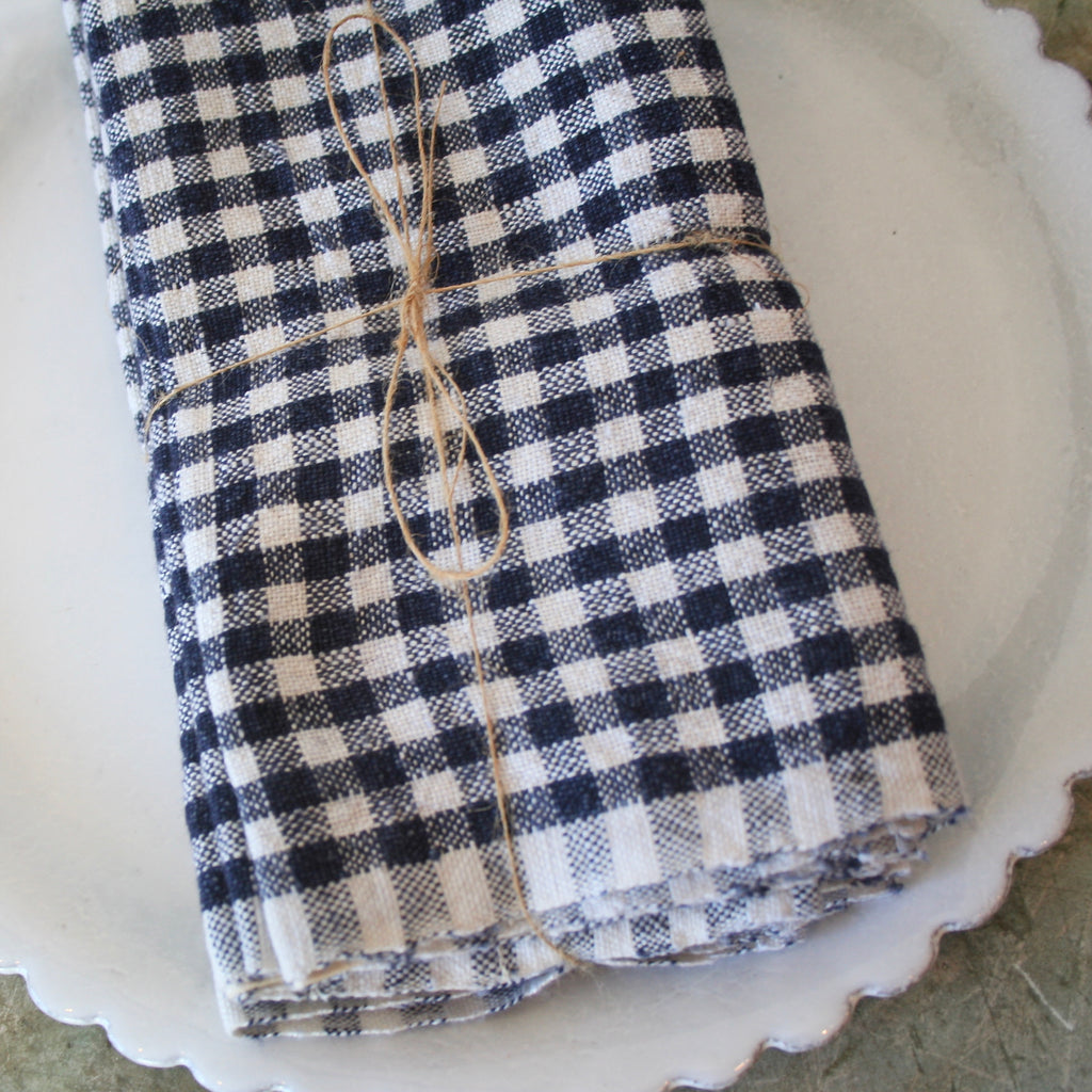 Set Of Four Gingham Linen Napkins - Navy